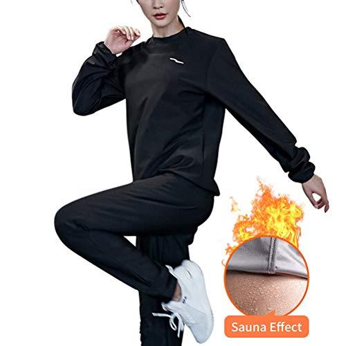 Qiekenao Fitness-Saunaanzug für Damen, Gewichtsverlust, Oberteil, Hose, Fitnessstudio, Workout M Schwarz