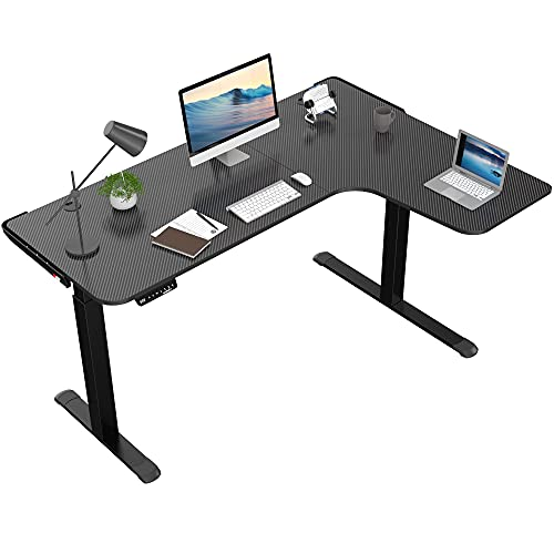 of l shaped sit stand desks DESIGNA 61 inches Electric L Shaped Standing Desk, Height Adjustable Corner Computer Gaming Desk, Modern Simple Style with Large Mouse Pad, Black