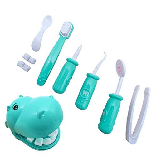Niños Juegos de simulación Juguete Dentista Verificar los Dientes Modelo Conjunto Kit médico Juego de Roles Educativo Simulación Aprendizaje Juguetes-Azul