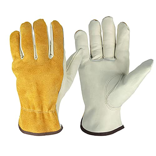 Cockroach Tuinhandschoenen, steekvaste leren handschoenen voor heren en dames, werkhandschoenen, tuinbestendig, robuuste flexibele handschoenen