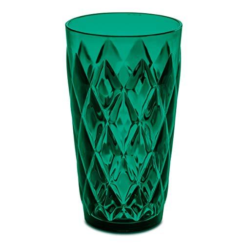 Koziol Becher Crystal L, Kunststoff, 450 ml, Longdrink Becher/Partybecher in Kristalloptik, melaminfrei, spülmaschinengeeignet, transparent grün