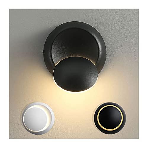 TOSZWJDY001 Aplique Pared Interior, Rotación de 360 ° Lampara Led Pared LED Exteriores Iluminación para Luces de Escalera de Dormitorio Salón Balcón,Black Indoor,3000K Warm