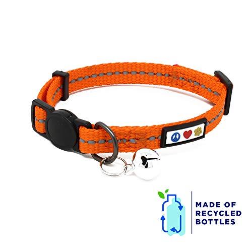 Pawtitas Gerecyclede reflecterende halsband voor katten met veiligheidssnelspanner en afneembare kattenbel | Verstelbare kat halsband gemaakt van kunststof flessen - Oranje Habanero