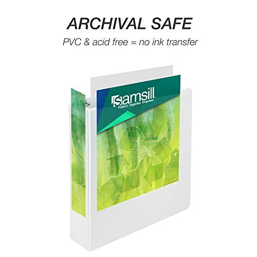 Samsill Earth's Choice Biobased Durable 3 Ring View Binder, 2 Inch Round Ring, Up to 25% Plant Based Plastic, USDA Certified Biobased, Eco-Friendly, Customizable Cover, White, 4 Pack (I08967) Photo #3