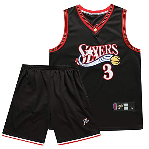 MJAD Basketball Jersey Men 76ers Iverson No. 3 10th Anniversary Edition Vest + Shorts Set, Real Game Jersey-Black-S