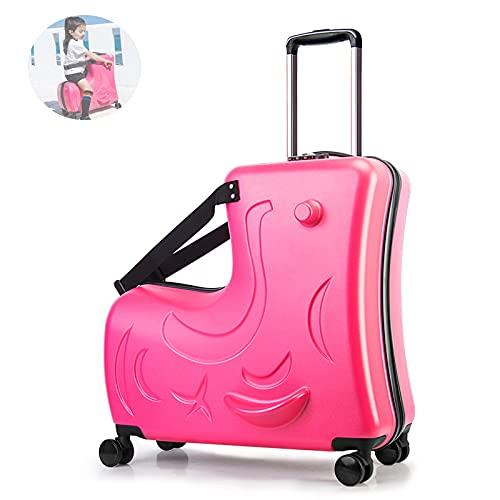 GIVROLDZ Valigia da Viaggio per Bambini Extra Large da 24' E Bagaglio A Mano per Bambini, Bagaglio A Mano Leggero da Viaggio Bagaglio per Bambini Lucchetto A Combinazione A 3 Cifre Integrato,Rosso