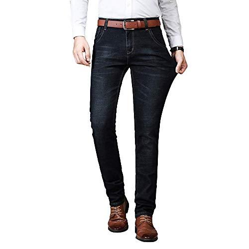 brandless Men's Jeans Spring Casual Slim Mid-Rise Elastic Cotton Straight Solid Color Indigo
