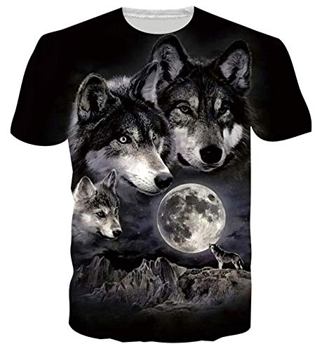Unisex 3D T-Shirt Men Women Wolf Print Funny Graphic Summer Casual Round Neck Tshirt Tee Tops L