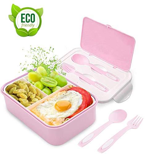 Bento Box, Lunchbox Kinder, Brotdose Kinder, Lunchbox mit 3 Fächern und Besteck, Auslaufsichere Brotzeitbox Vesperdose Mikrowelle Heizung