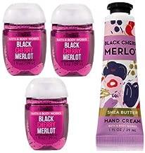 Bath and Body Works 3 Pack Black Cherry Merlot Pocketbac Hand Sanitizer 1 Oz and Hand Cream 1 Oz.