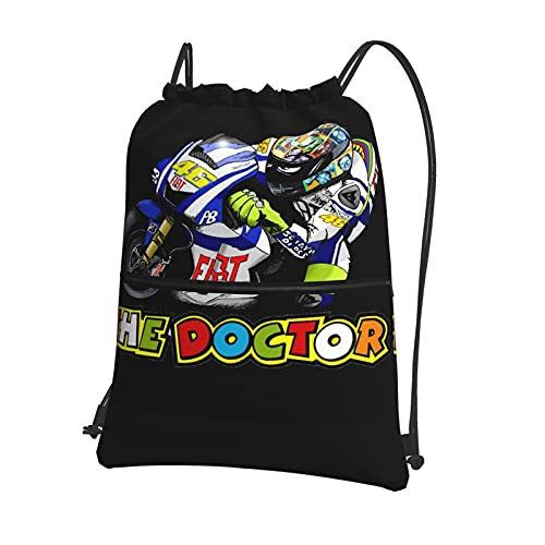 Valentino Rossi VR46 - Bolsas de gimnasio con cordón, impermeable, bolsa de polietileno, para escuela, niñas, natación, compras, yoga, escuela, playa, fútbol