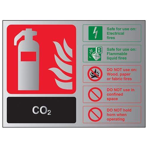 VSafety 11016AL-ACBRSH - Cartello di identificazione CO2 per estintore, 150 mm x 100 mm-3 mm, in alluminio spazzolato