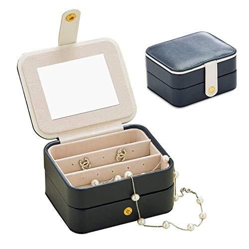 HM&DX Spiegel Schmuckschatulle Zwei Schicht Leder Samt Reise Aufbewahrung Kosmetikkoffer Für mädchen Ringe Ohrringe Halskette-Navy blau