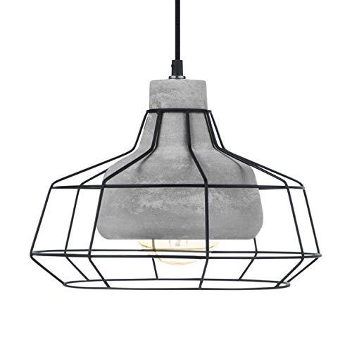 EGLO Pendelleuchte Consett, 1 flammige Hängelampe Vintage, Retro, Hängeleuchte aus Stahl und Beton in Schwarz, Grau, Esstischlampe, Wohnzimmerlampe hängend mit E27 Fassung
