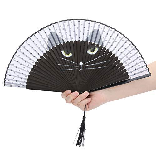 Abanico Plegable de bambú, patrón de Gato de Dibujos Animados de inyección...