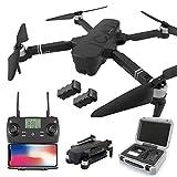 Drones GPS Plegables para Adultos, con cámara 4K HD ESC, 5G WiFi FPV Drone, 120 Grados;Cuadricóptero RC Drone de Gran Angular con 2 baterías modulares y Luces LED destacadas (Color: Blanco)