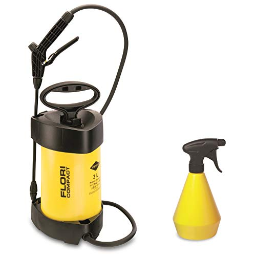 MESTO Drucksprühgerät FLORI COMPACT, 3L Kunststoffbehälter mit Handzerstäuber 0,5L (Düse 1,1mm, Spritzrohr 37cm), Gelb