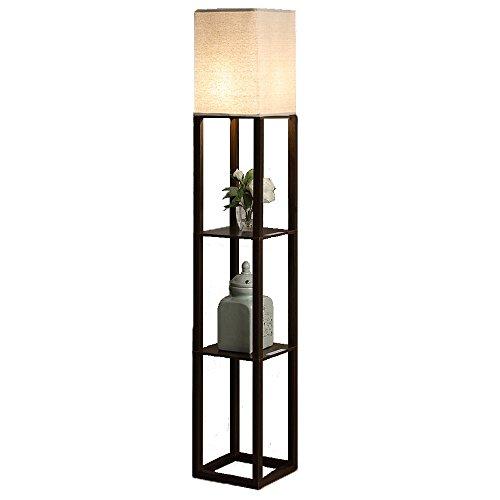 QIANGUANG Éclairage intérieur 1.6m Lampadaire en bois avec étagères Prise de charge USB téléphone pour chambre salon (sans ampoule) (marron)
