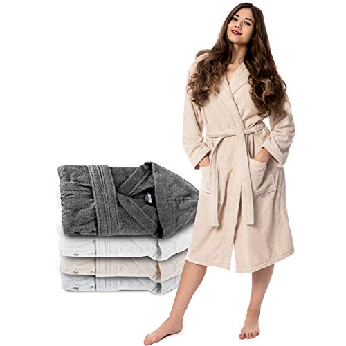 Twinzen Bata Mujer (XL, Beige Claro/Topo) - 100% Algodón,
