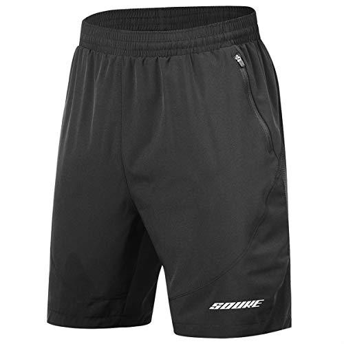 Souke Sports Men's Workout Running Shorts Quick Dry Athletic Performance Shorts Black Liner Zip Pockets (Black, X-Large)