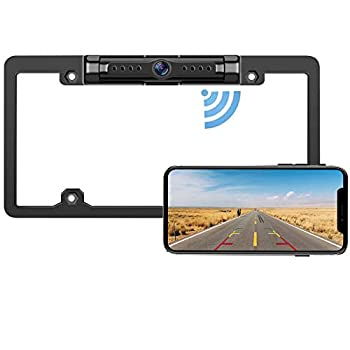 License Plate WiFi Backup Camera - IP69 Waterproof Night Vision License Plate Frame Camera for Cars Trucks Vans Pickups SUVs WiFi Backup Camera for iPhone/Android Phone Guide Lines On/Off