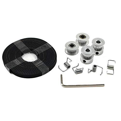 Aibecy 2 Stks GT2 Pulley Wheel 20 Tanden Bore 5 mm + 2 m GT2 Timing Belt 6 mm Breedte + 2 Stks Idler + 4 Stks Spanner Torsie Lente + Moersleutel voor 3D Printer Onderdelen Acessorieën