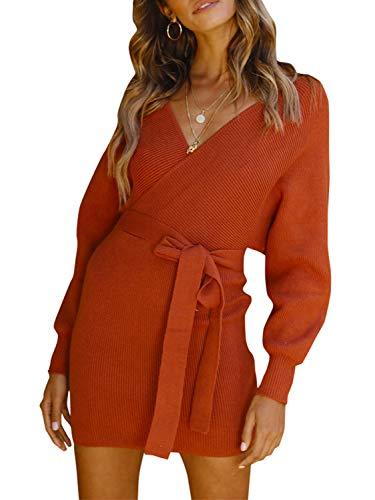 Melegant Damen Herbst Gestrickte Kleid Elegant V-Ausschnitt Bodycon Knielang Gürtel Langarm Pullover Strickkleid Winter Orange, M