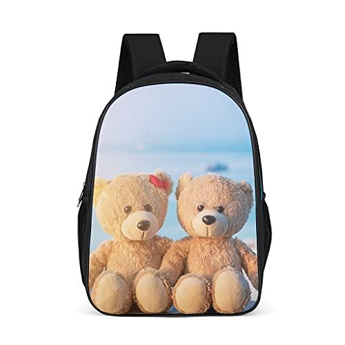 Mochila de peluche oso de peluche animal playa océano patrón Bookbag elegante Daypack bolsa de negocios para hombres mujeres, color, talla Talla única