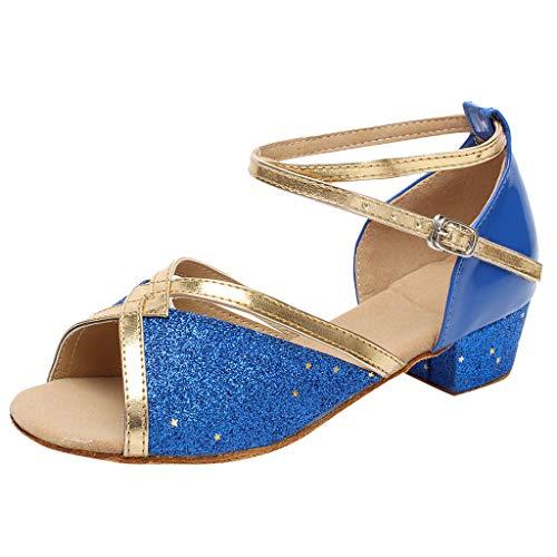 Sandales Danse Fille Chaussure à Talon Bout Ouvert Enfant Tango Latin Cha-Cha Soirée Unique Chaussures de Pratique Chaussures de Princesse 4-15ans BaZhaHei(33,Bleu)