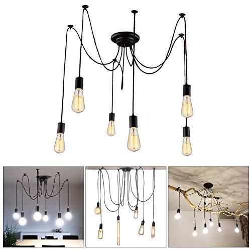 Lightess Lampadario Vintage per Soffitto, a Forma di Ragno con Bracci Pendenti, Massimo 60W per Ogni Lampadine Attacco E27×6