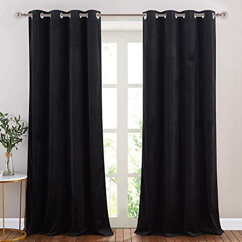 NICETOWN Black Velvet Curtains, Media Movie Theater Room Decor, Luxury Velvet Blackout Window Treatment Drapes, Classic Velvet Woven Home Theater Ring Top Drapes (Set of 2, W52xL84 inches)