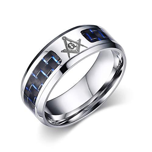 OIDEA Edelstahl Ringe Silber für Herren Damen, Klassiker Retro Charm Freimaurer Herrenring Edelstahlring Bandring Ringgrößen 47 (15.0) – 65 (20.7)