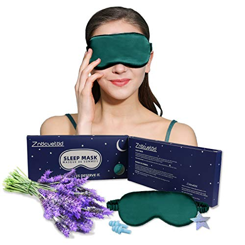 Silk Eye Mask for Sleeping Lavender Sleep Mask for Men Women-Super Smooth and Updated Light Blocking Design