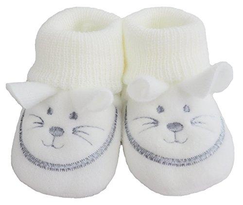 Chaussons bébé en tricot Petite souris (0–3 mois) - Blanc - Weiß,
