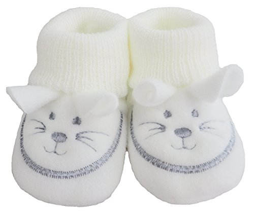 France Tendances Baby Schuhe Strickschuhe Erstlingsschuhe Mäuse das kleine Geschenk (0-3 Monate) Weiß