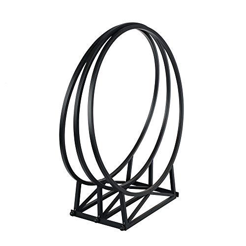 RM Design Étagère à bûches pour extérieur et intérieur - Largeur : 55 cm - Métal noir