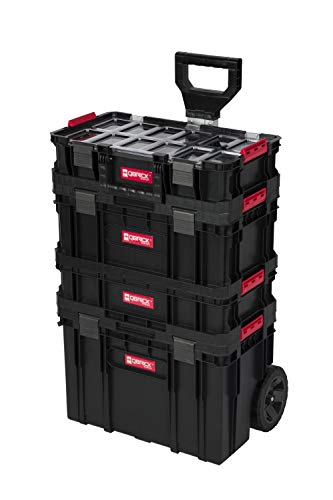 XL Werkzeugtrolley, Werkstattkoffer Set, Werkstattwagen Set ausQ-Brick Serie mit viel Zubehör! B x T x H in cm: 53 x 38 x 98 cm ! Der Mobile Alleskönner - Privat & Gewerbe (Set 1)