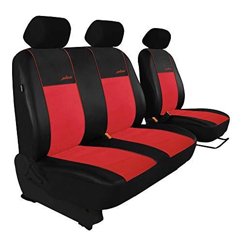 Saferide | Universele voorstoelen bus 1 + 2 rode stoelhoezen camper stoelbekleding beschermhoezen autostoelbekleding stoelhoezen voorkant Transporter Gallante Exclusive