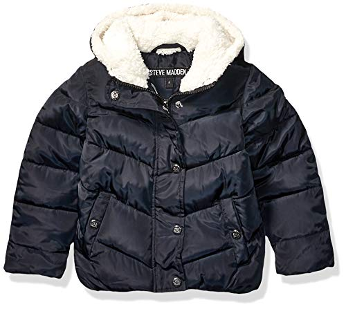 Steve Madden Girls Baby Girls Bubble Jacket (More Styles Available), Sherpa Lined Hood Black, 24M
