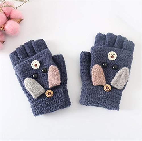 Invierno de Navidad caliente lindo de dibujos animados suaves guantes elemental de cachemira de punto medio dedo guantes