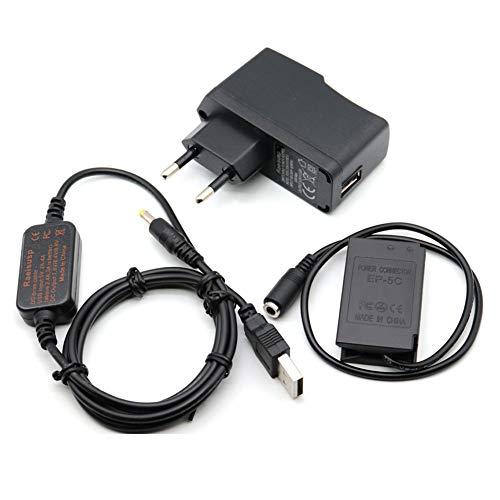 Cable USB EH-5 + 5V3A Cargador + EP-5C EP5C DC Acoplador EN-EL20 Batería falsa para Nikon...
