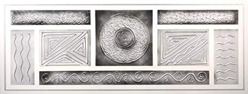 Cuadro Pintado Abstracto Plata y Gris 130x50 cm, con Relieve, 100% Original, Listo para Colgar