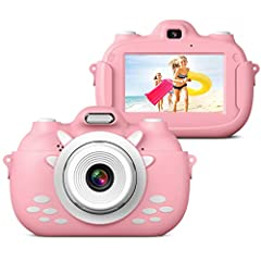 Enregistreur de caméra vidéo pour enfants, Caméra selfie rechargeable rechargeable avec carte SD 32 Go, 3 Inch HD appareil photo numérique, caméra pour enfants pour les jeunes filles Cadeaux Enfants Appareil photo numérique
