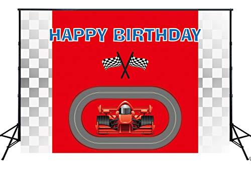 Racing Auto Achtergrond voor Fotografie Zwart Wit Grid Rode Auto Vlag Achtergrond voor Jongen Kinderen Verjaardag Feestartikelen Decoraties Baby Douche Taart Tafel Photo Banner Studio Props 220x150cm W-2197