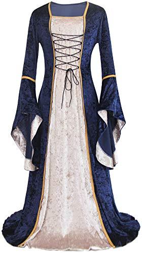 ALIZIWAY Vestido medieval renacentista para mujer, disfraz de Halloween, disfraz retro irlandés, Azul / Patchwork, XL