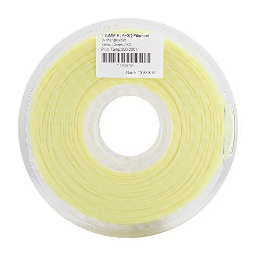 Tangxi Filamento per Stampante 3D 1,75 mm PLA Cambia Colore (da Giallo a Verde) Una Bobina Filetto di consumo per Stampante 3D Dimensione 1KG ± 0,02 mm