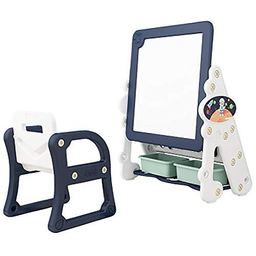 IPRE - Organizer per giocattoli per bambini, in plastica, con sgabello e tavoletta da disegno, altezza regolabile, con 2 scatole, colore: nero