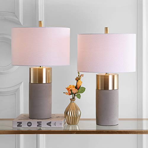 Safavieh Lighting Collection Oliver Grey Concrete/Gold Bedroom Living Room Home Office Desk Nightstand Table Lamp (Set of 2) - LED Bulbs Included