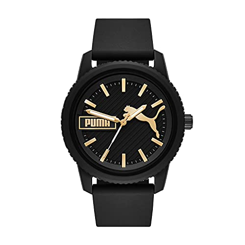 PUMA Men's ULTRAFRESH Quartz Watch with Silicone Strap, Black, 22 (Model: P5082)