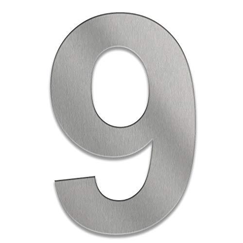 ZALAFINO Hausnummer aus Edelstahl in anthrazit - schwarz - DB703 - Edelstahl natur 0-9 und a-d - Größe konfigurierbar im XXL DESIGN Straight (20 cm, 9)